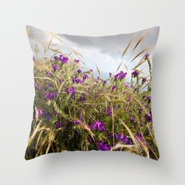 Wild Flower and Clouds Throw Pillow