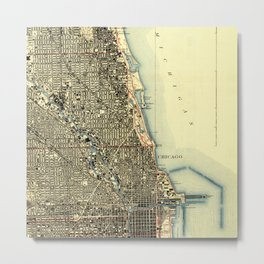 Chicago Colorful Map, vintage map year 1929 Metal Print