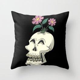 Skull skeleton flowers Throw Pillow