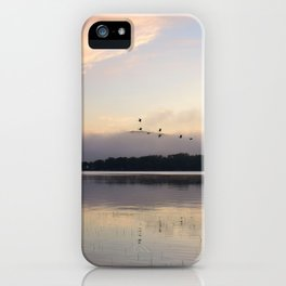 Lifting Up: Geese Rise at Dawn on Lake George iPhone Case
