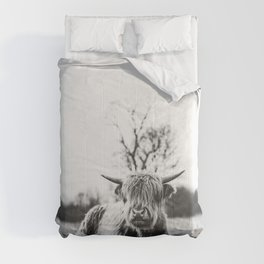 Darn cute Highland cow black and white  Comforters