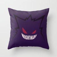 gengar Throw Pillows featuring Nightmare [Gengar, Pokémon] by Ruwah