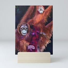 Patient Orangutan Mum and Her Naughty Child Mini Art Print