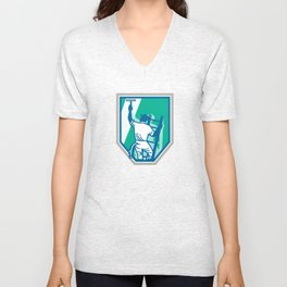 Window Cleaner Worker Shield Retro Unisex V-Neck