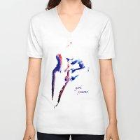 girl power V-neck T-shirts featuring girl power  by Gréta Thórsdóttir
