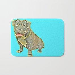 beautiful canine female dog smiles aquamarine perro fotografia american bully fondo azul Bath Mat