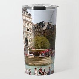 Water Fountain In Trafalgar Square, London Travel Mug