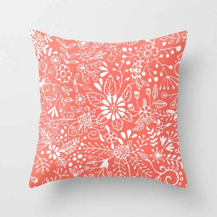 Living Coral Floral Doodle Throw Pillow