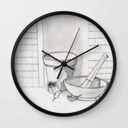 still life with garlic Wall Clock