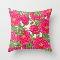 peonies Throw Pillows featuring peonies by melazerg