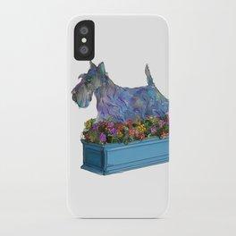 Animals in Gardens: Scotty in a Flower Box iPhone Case