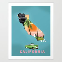 California Illustrated map poster. Art Print