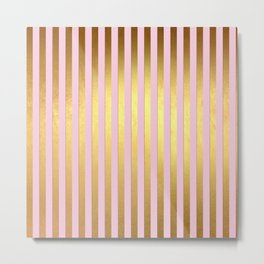 Striped- Pink and gold luxury stripes design Metal Print