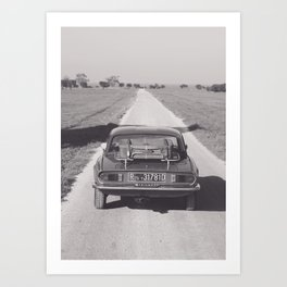 Triumph spitfire on a gravelly road in southern Italy, english sports car, fine art photography Art Print