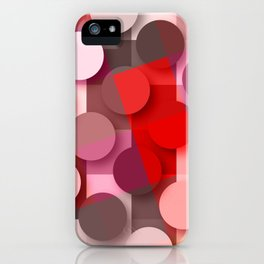 dots & squares red iPhone Case