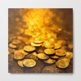 "Gold Coin Pulling Image...""The Secret"" If you see again and again, you can get it. Metal Print"