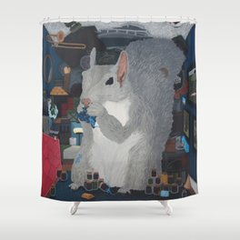 Grey Hoarding Squirrel (in a Blue Room) Shower Curtain