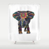spiritual Shower Curtains featuring Spiritual Elephant by Kat Rocha