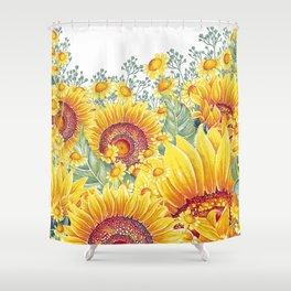Vintage Garden 15 (Sunflower Field) Shower Curtain