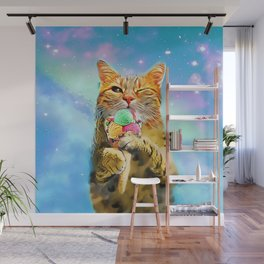 Cat with ice cream Wall Mural