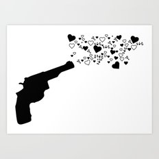 Shot in the heart Art Print
