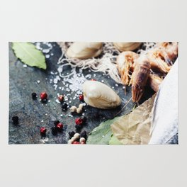 Food background with Seafood and Wine. Lots of copy space Rug
