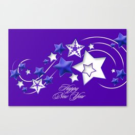 Blue and Purple Happy New Year Shooting Stars  Canvas Print