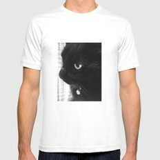 Black Cat Mens Fitted Tee White MEDIUM