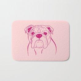 English Bulldog (Pink and Raspberry) Bath Mat