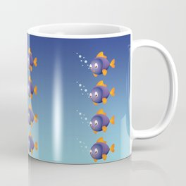 Violet Fish with Bubbles Coffee Mug