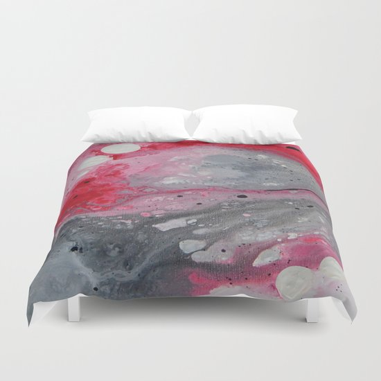 Red, black and white abstract art by Saribelle Duvet Cover