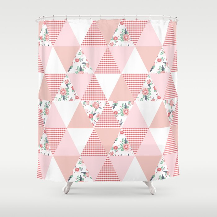 Quilt Quilter Cheater Pattern Florals Pink And White Minimal Modern Nursery Art Shower Curtain