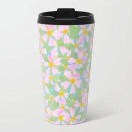 Pink Dogrose Flowers on Sky Blue Travel Mug