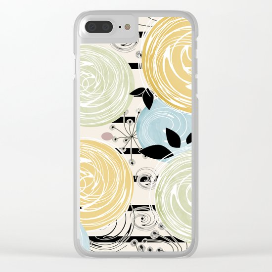 Retro . Abstract floral pattern on a striped background . Clear iPhone Case
