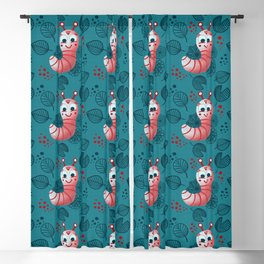 Cheerful caterpillars Blackout Curtain
