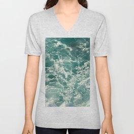 Blue Green Ocean Waves Unisex V-Neck