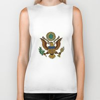 patriotic Biker Tanks featuring Patriotic Eagle by manderjack