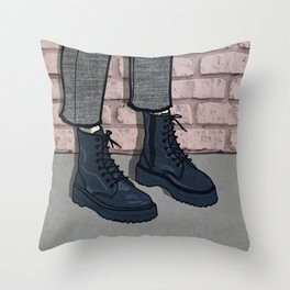 Stand Tall [combat boots] Throw Pillow