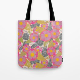 Floating Flowers in Purple and Gray Tote Bag