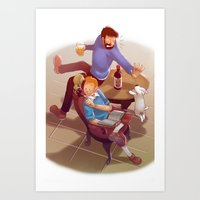 tintin Art Prints featuring Tintin and co. by magemg