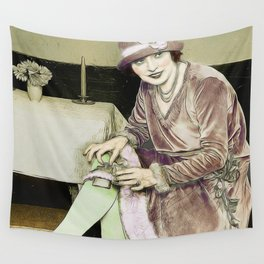 Vintage Woman With Hip Flask Wall Tapestry