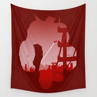 baymax Wall Tapestries featuring Baymax Cityscape by Travis Love