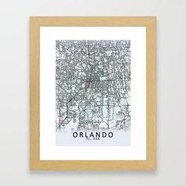 Orlando FL USA White City Map Framed Art Print