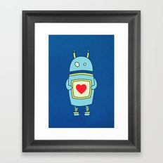 Blue Cartoon Robot With Heart Framed Art Print