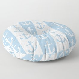 Nautical Sailor Stripes with Anchor Pattern Pale Blue 241 Floor Pillow