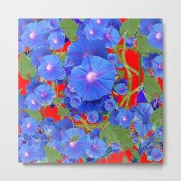 CHINESE RED & BLUE MORNING GLORIES ART  Metal Print