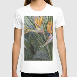 Bird of Paradise flowers and Hummingbirds still life painting T-shirt
