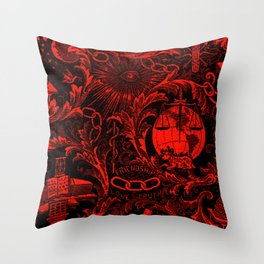 Red and Black IOOF  Woven Symbolism Tapestry Throw Pillow