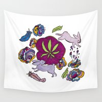 bunnies Wall Tapestries featuring Cannabis Bunnies by Ri 13