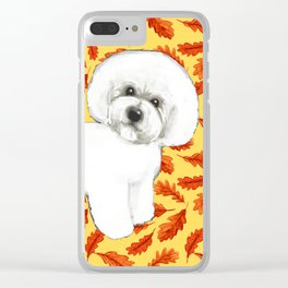 Bichon Frise in Fall Leaves Clear iPhone Case